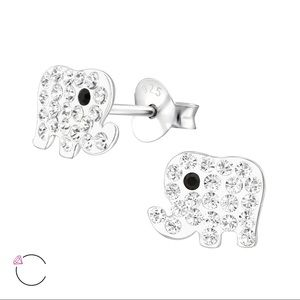 Children's elephant sterling Swarovski ear studs